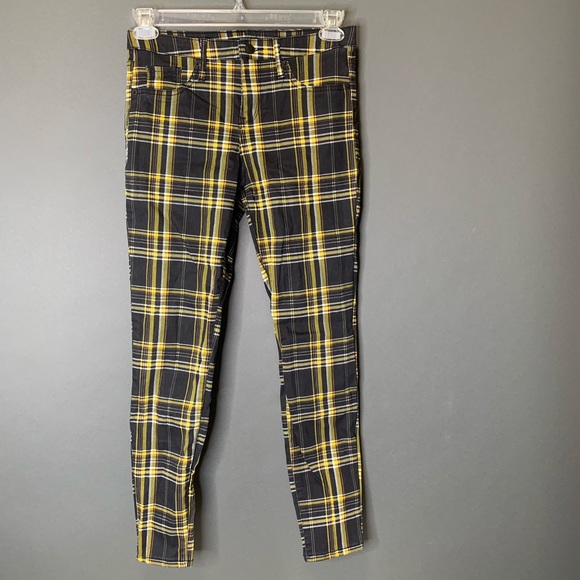 NEW Wild Fable Women/'s Plaid Mid-Rise Skinny Jeans Black//Yellow Size:6